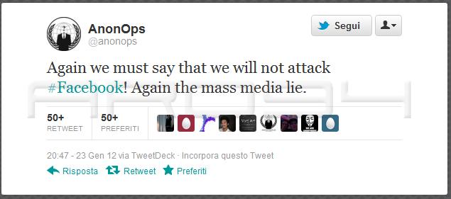 Protesta informatica: Anonymus si schiera contro i provvedimenti anti pirateria SOPA e PIPA e la censura di Twitter