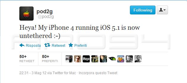 Pod2g riesce a effettuare correttamente il Jailbreak Untethered di iOS5.1