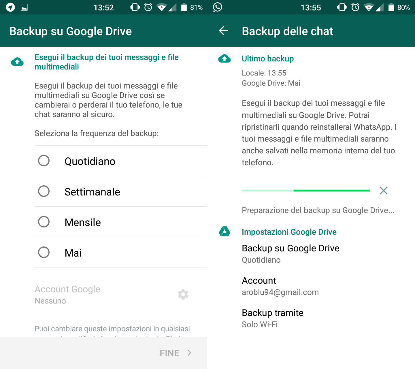 WhatsApp: backup su Google Drive nuovamente disponibile